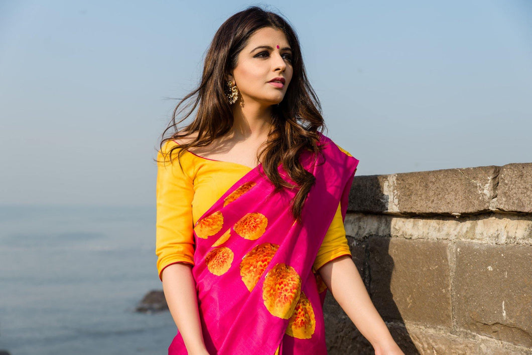 Fuschia Crepe Saree with Yellow Unstitched Blouse - The Wedding Brigade