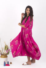 Load image into Gallery viewer, Fuschia Pink Hand Block Printed Maxi Dress