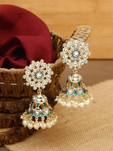 Load image into Gallery viewer, Gold and Green Kundan Jhumkis