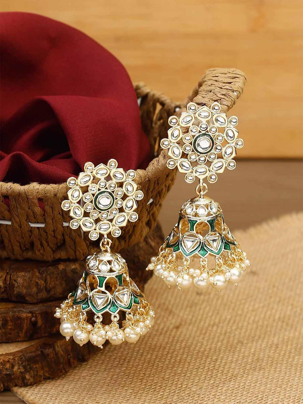 Gold and Green Kundan Jhumkis