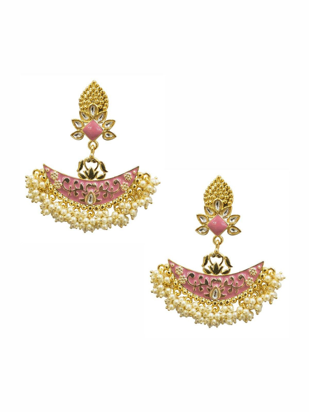 Gold and Pink Pearl Earrings - The Wedding Brigade