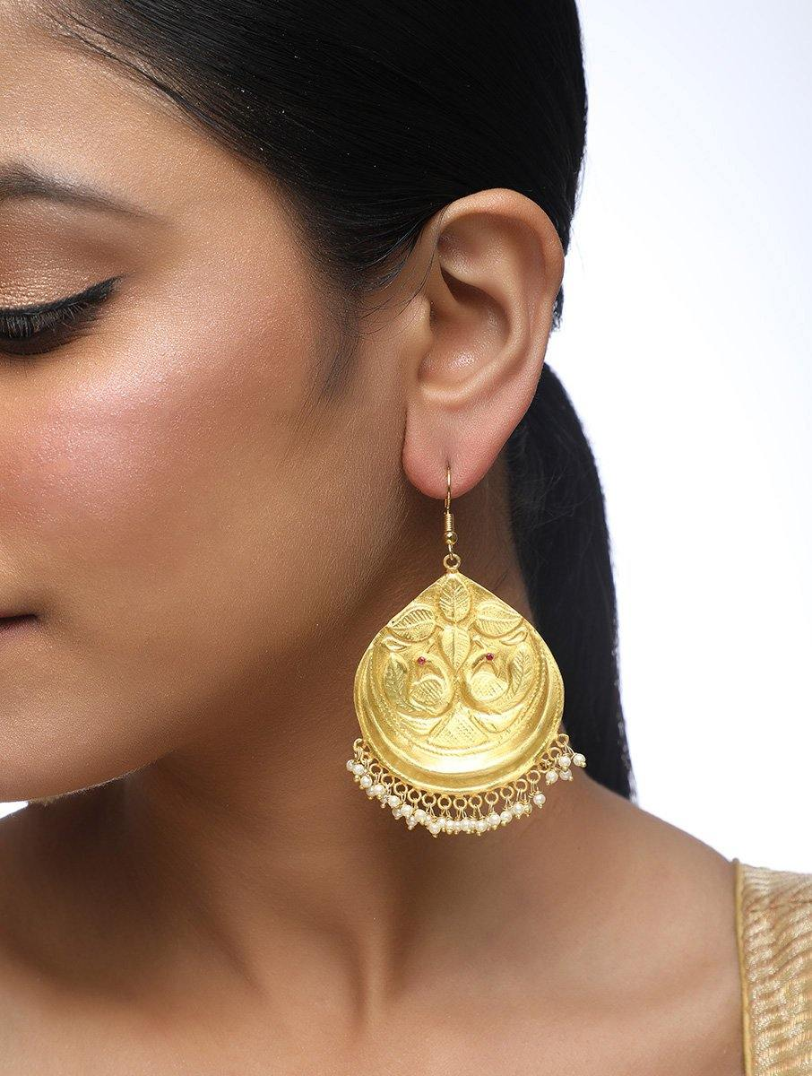 Gold Earrings with Basra Beads
