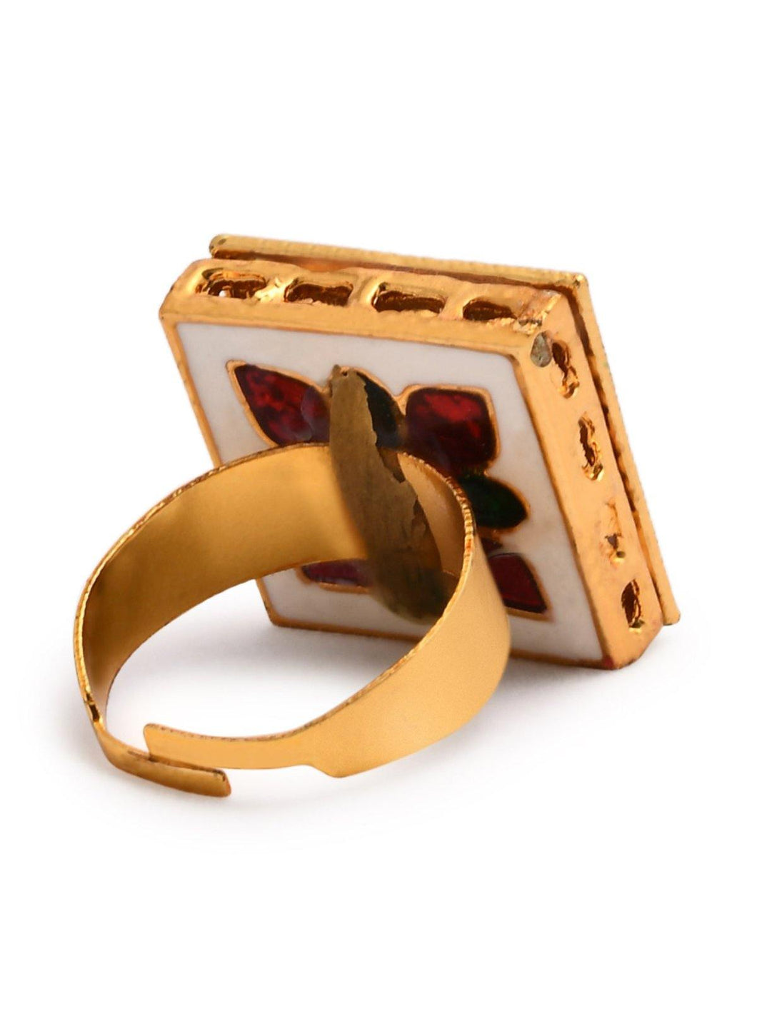 Gold Kundan Square Ring