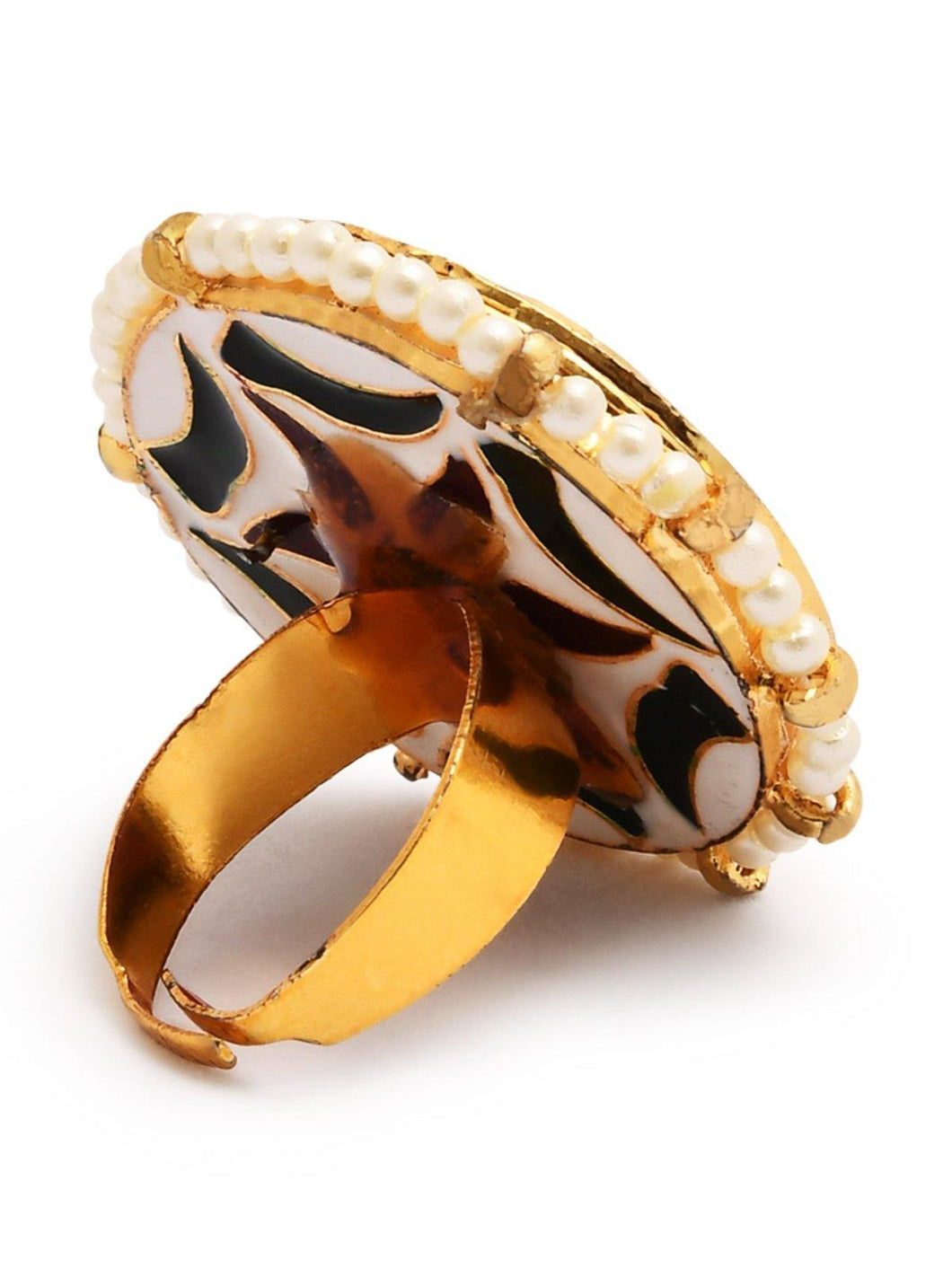 Gold Multi Color Kundan Ring