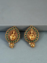 Load image into Gallery viewer, Gold Plated Earrings with Green Stones