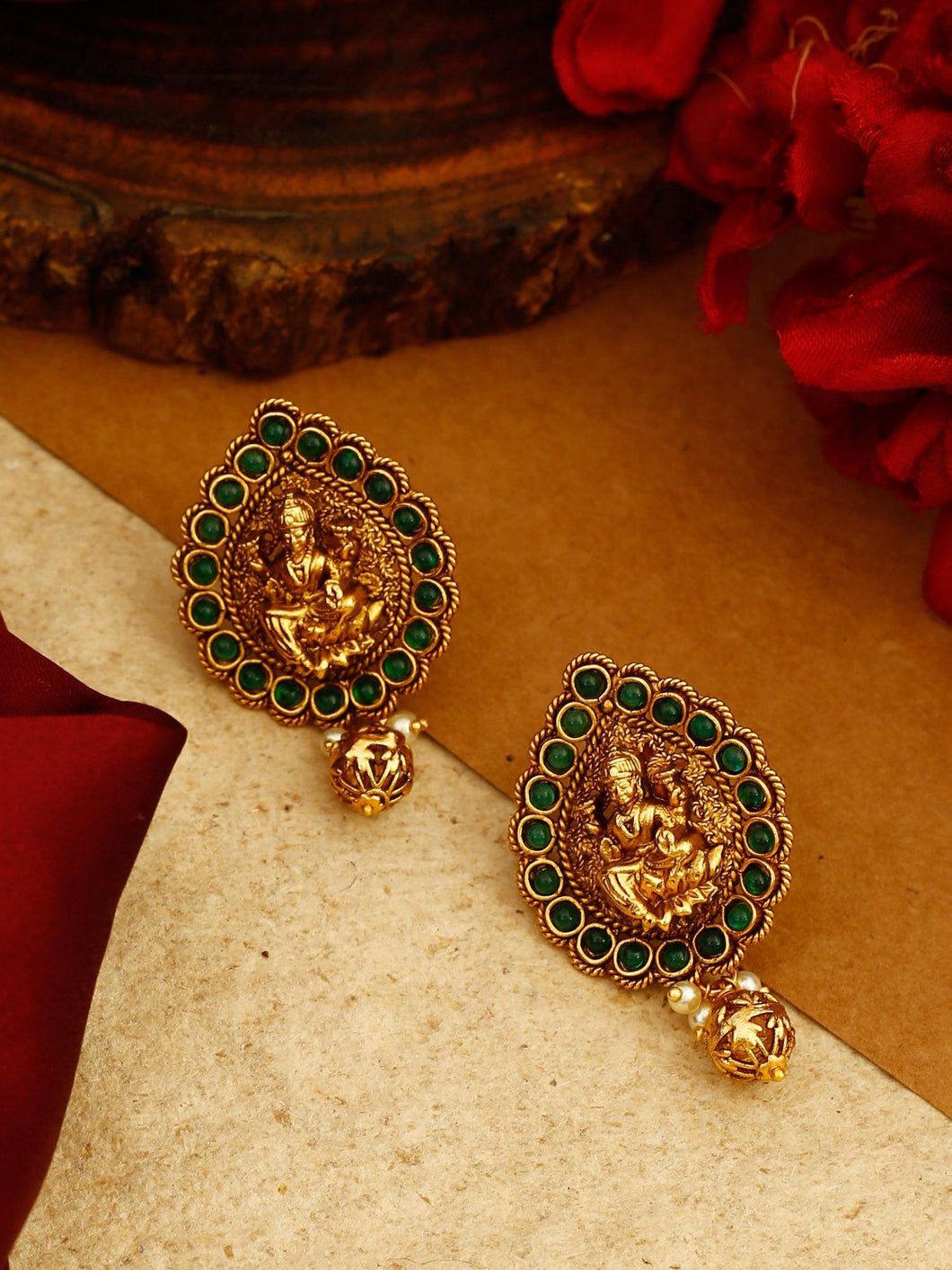 Gold Plated Earrings with Green Stones