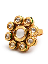 Load image into Gallery viewer, Gold Round Kundan Ring