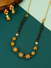Load image into Gallery viewer, Golden Beaded Mangalsutra with Earrings