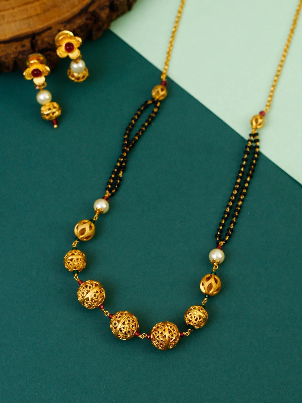 Golden Beaded Mangalsutra with Earrings