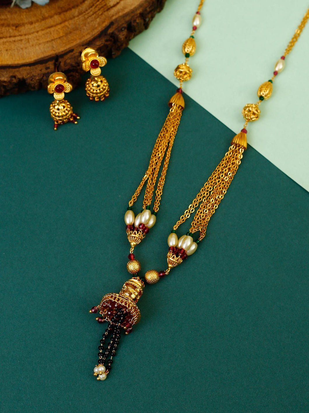 Golden Chain Mangalsutra with Earrings