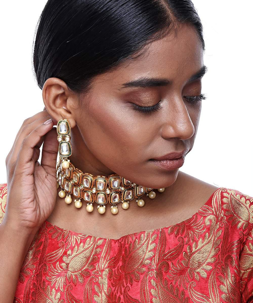 Golden Kundan Choker and Earring Set