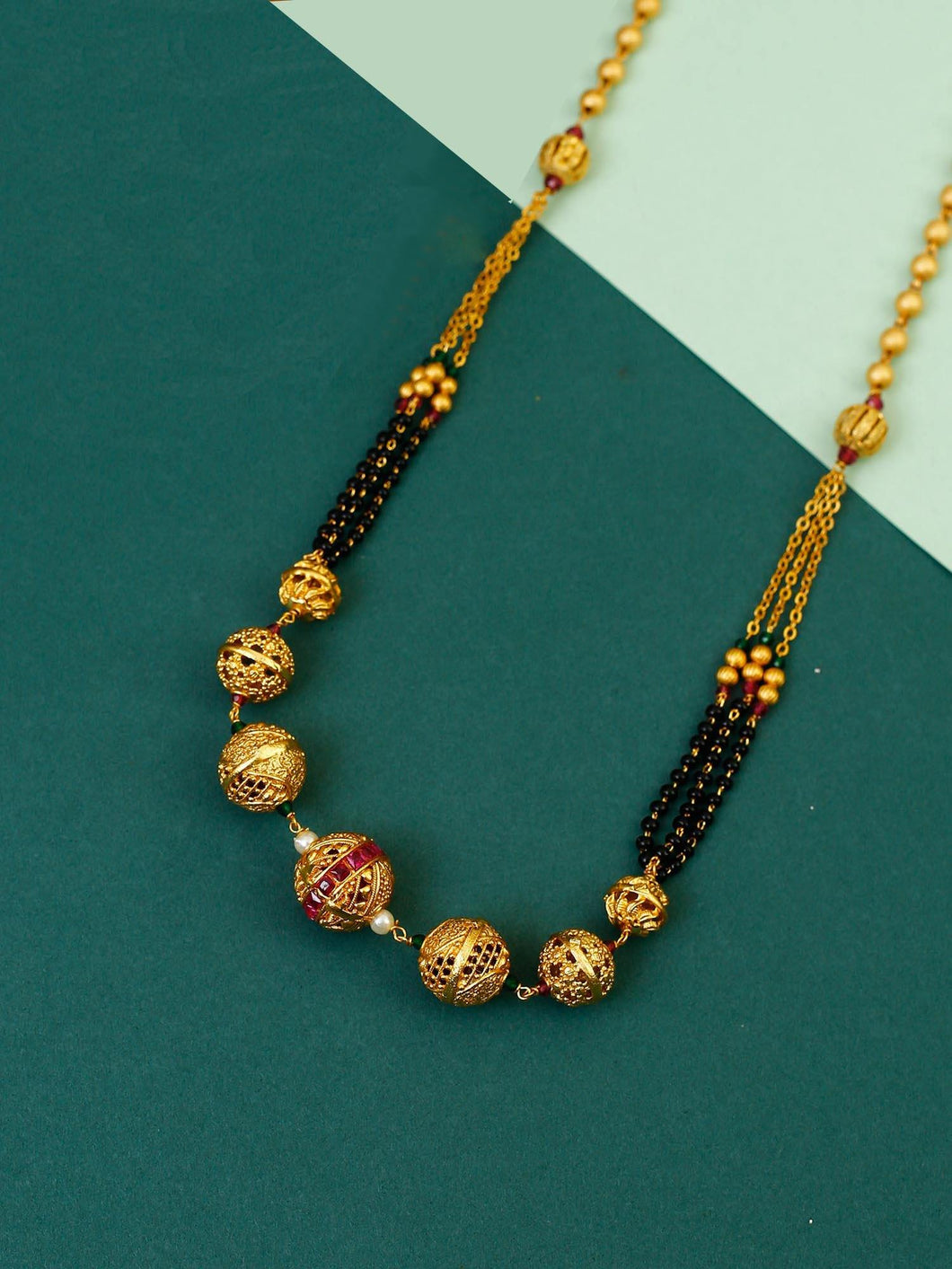 Golden Pendant Mangalsutra with Earrings