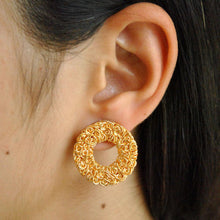Load image into Gallery viewer, Golder Circular Mesh Earrings
