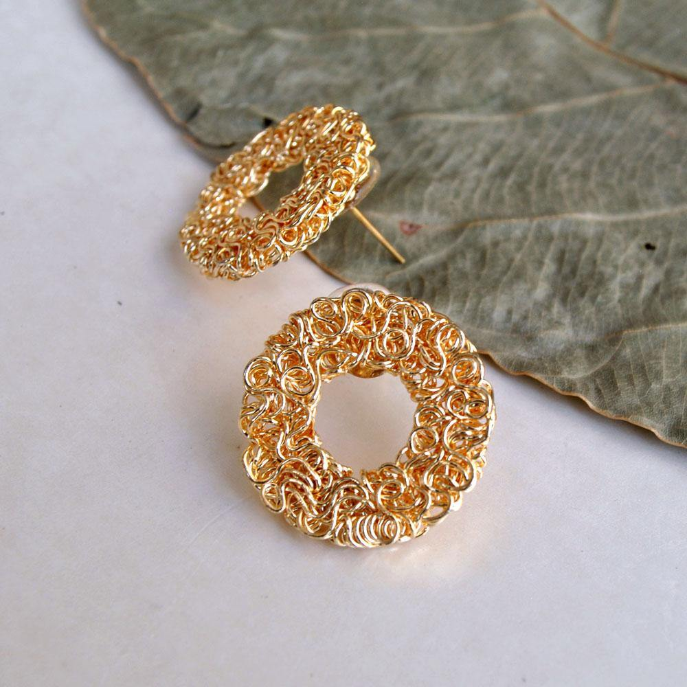 Golder Circular Mesh Earrings