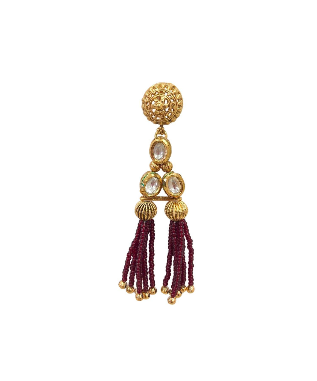 Granita Kundan Tassle Earrings