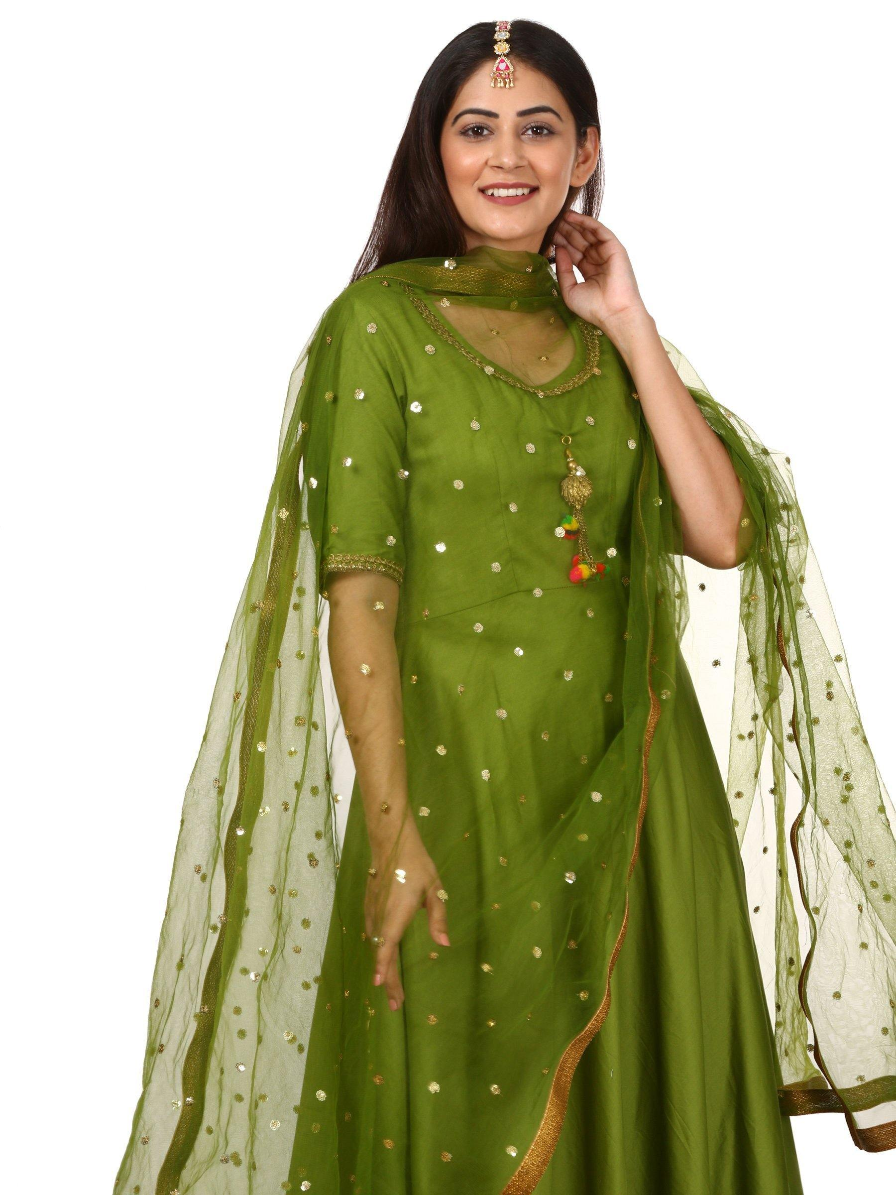 Green Anarkali with Green Net Sequin Dupatta - The Wedding Brigade