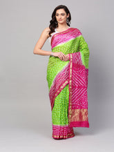 Load image into Gallery viewer, Green Art Silk Bandhani Saree