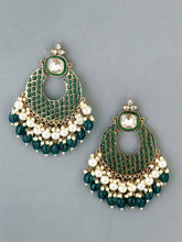 Load image into Gallery viewer, Green Basra Pearl Dangle Earrings - The Wedding Brigade