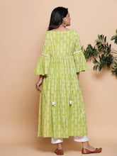 Load image into Gallery viewer, Green Block Printed Maxi Dress