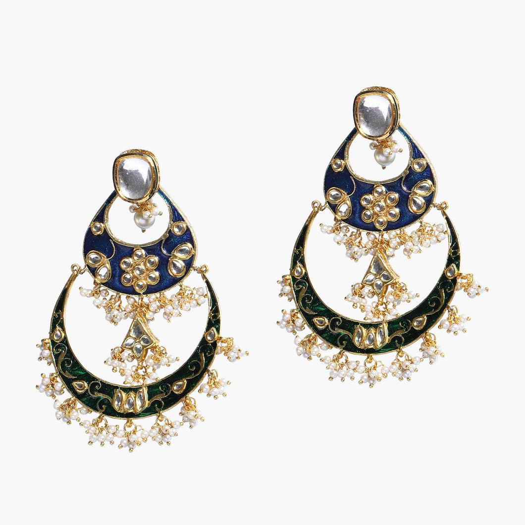 Green & Blue Kundan Earrings