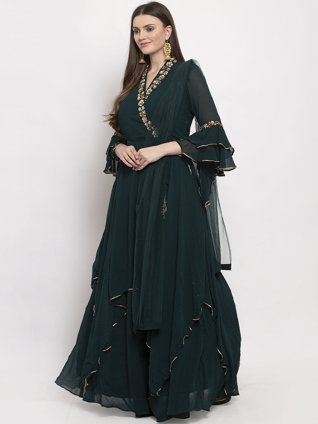 Green Embroidered Angrakha Dress Set