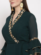 Load image into Gallery viewer, Green Embroidered Angrakha Dress Set