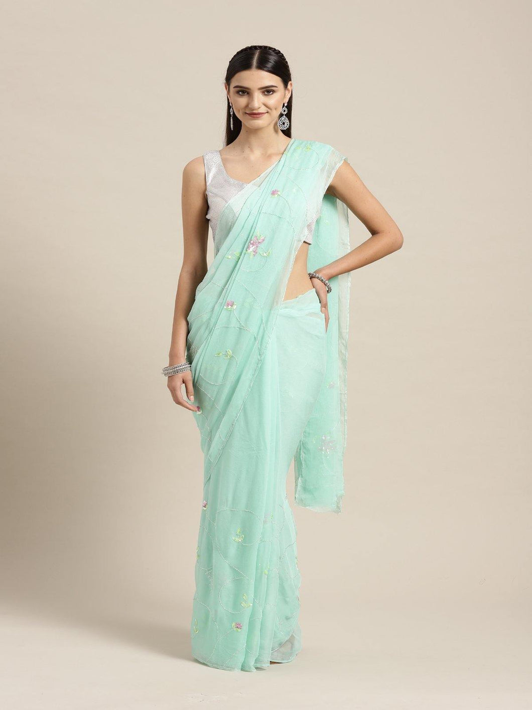 Green Embroidered Chiffon Saree - The Wedding Brigade