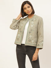 Load image into Gallery viewer, Grey Embroidered Jacket
