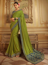 Load image into Gallery viewer, Green Embroidered Solid Saree