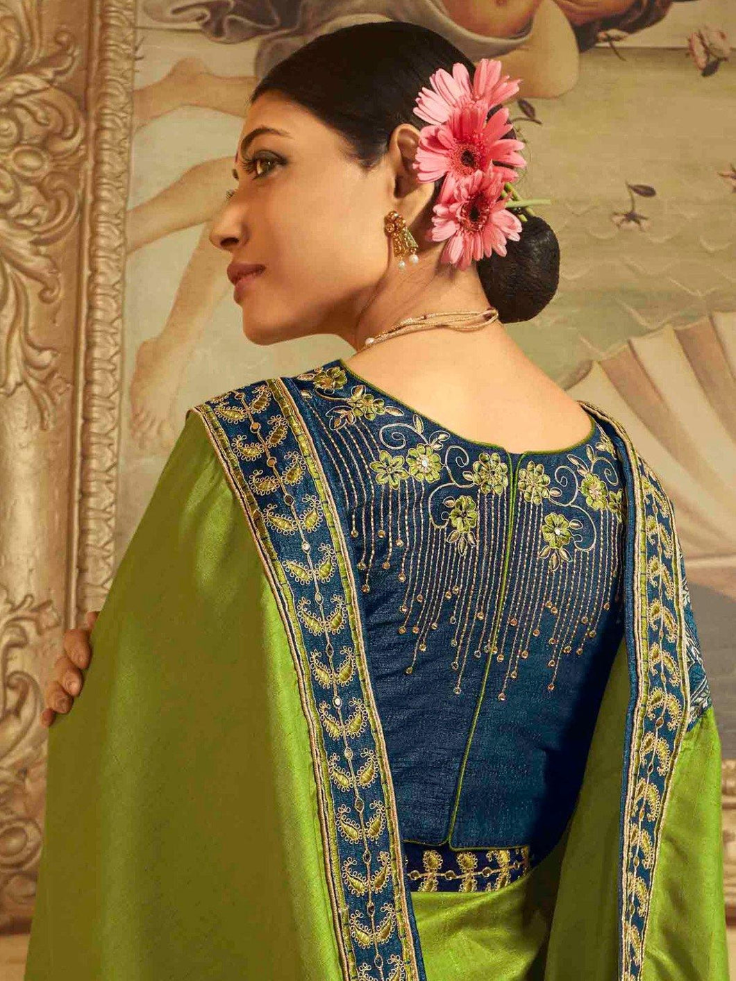 Green Embroidered Solid Saree