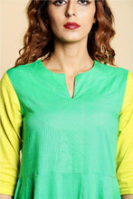 Load image into Gallery viewer, Green Flared Anarkali Kurta