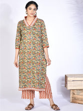 Load image into Gallery viewer, Green Floral Kurta Palazzo Set