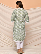 Load image into Gallery viewer, Green Floral Printed Kurta