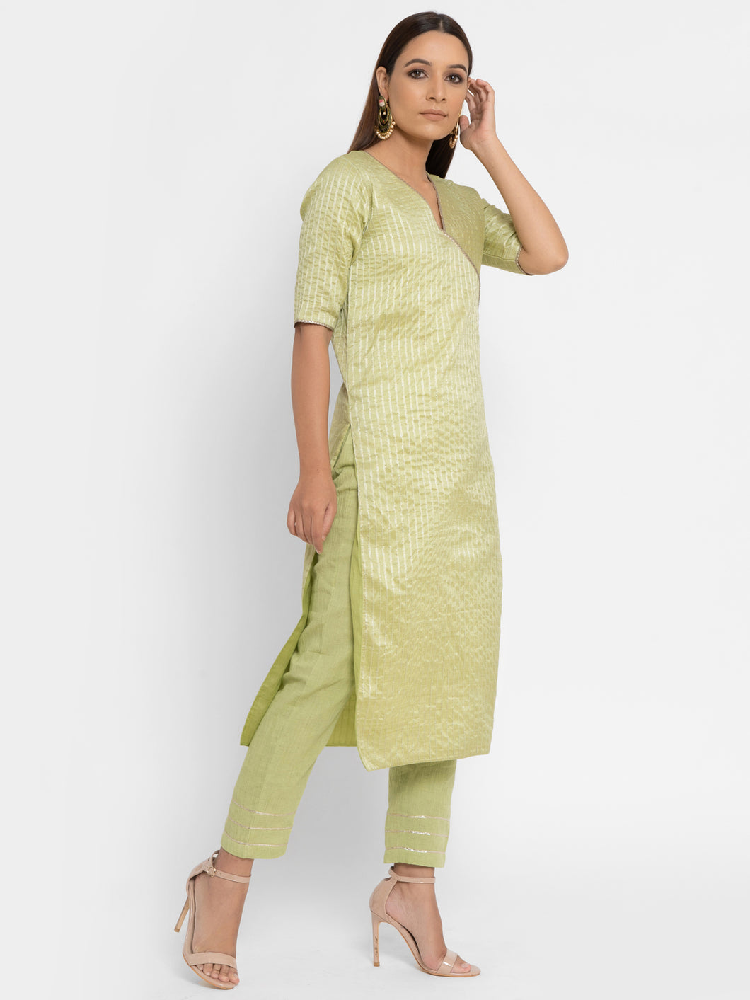 Green Gota Patti Kurta Pant Set