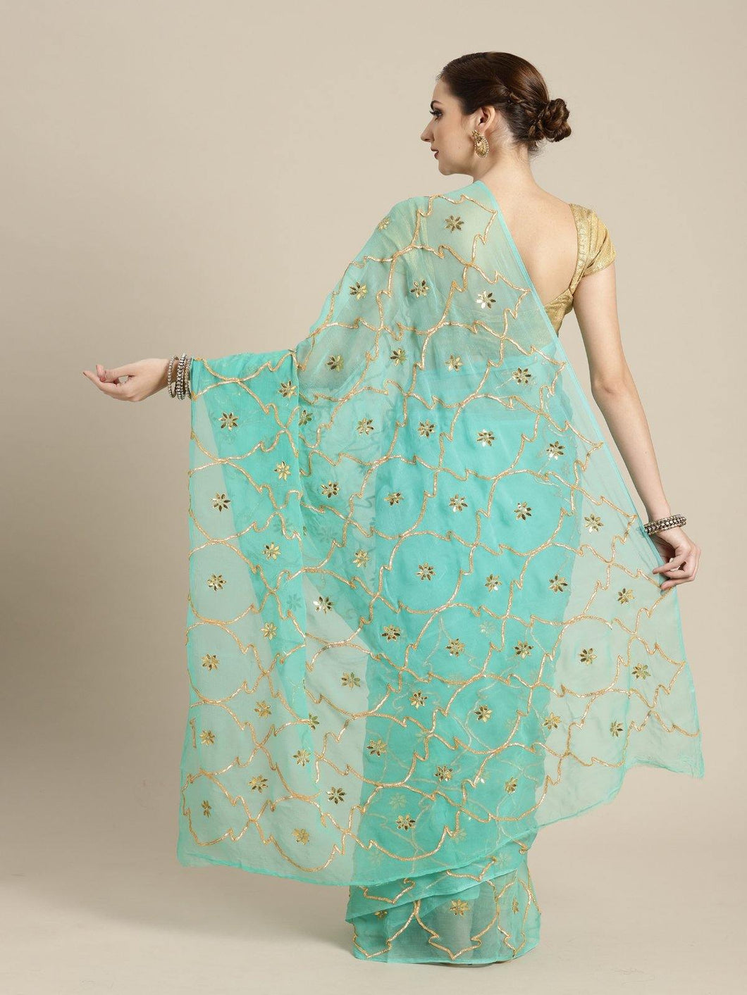 Green Gota Patti Saree