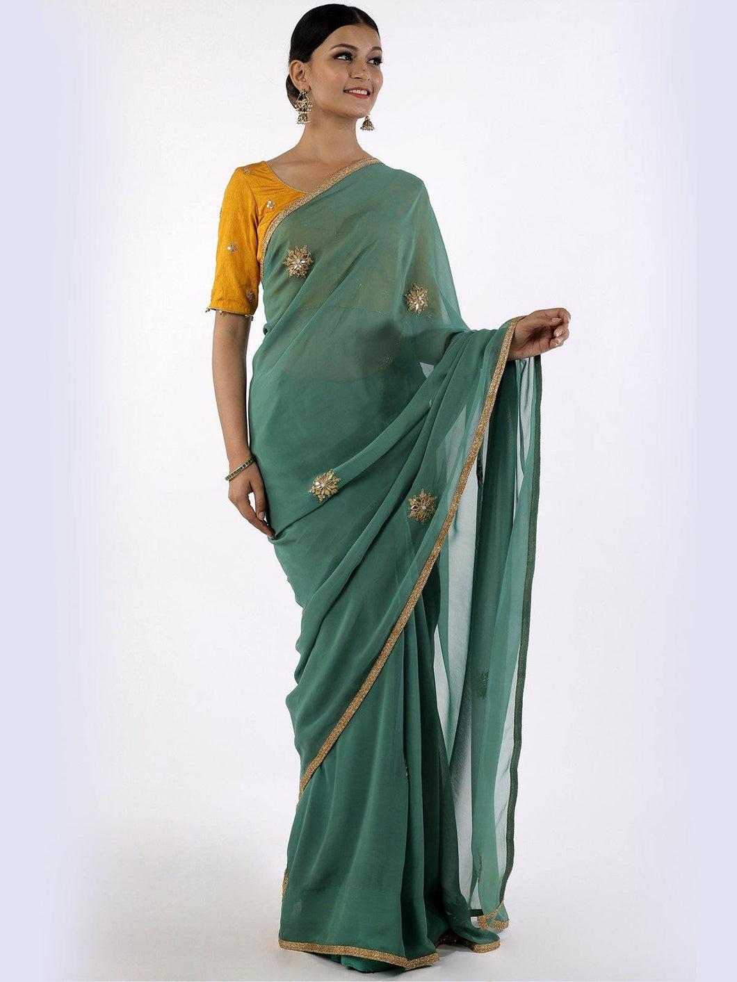 Green Gota Patti Saree with Unstitched Blouse
