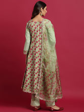 Load image into Gallery viewer, Green Hand Block Anarkali Kurta Palnt Set