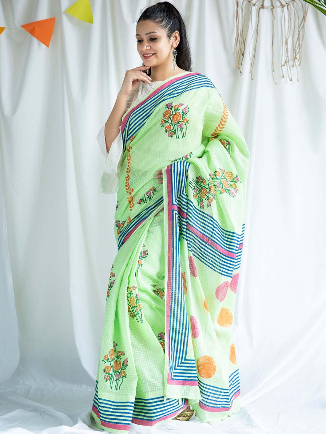 Green Hand Block Printed Saree