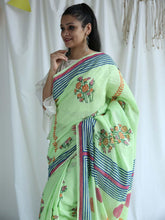 Load image into Gallery viewer, Green Hand Block Printed Saree