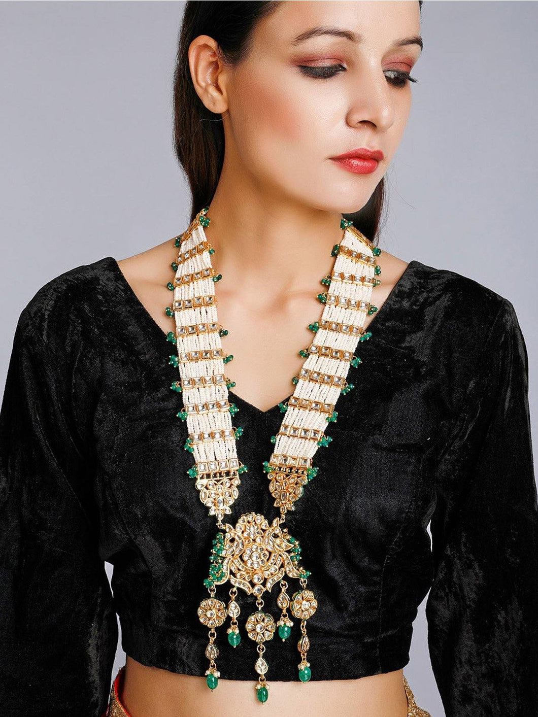 Green Kundan and Pearl Neckpiece - The Wedding Brigade