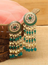 Load image into Gallery viewer, Green Kundan Danglers