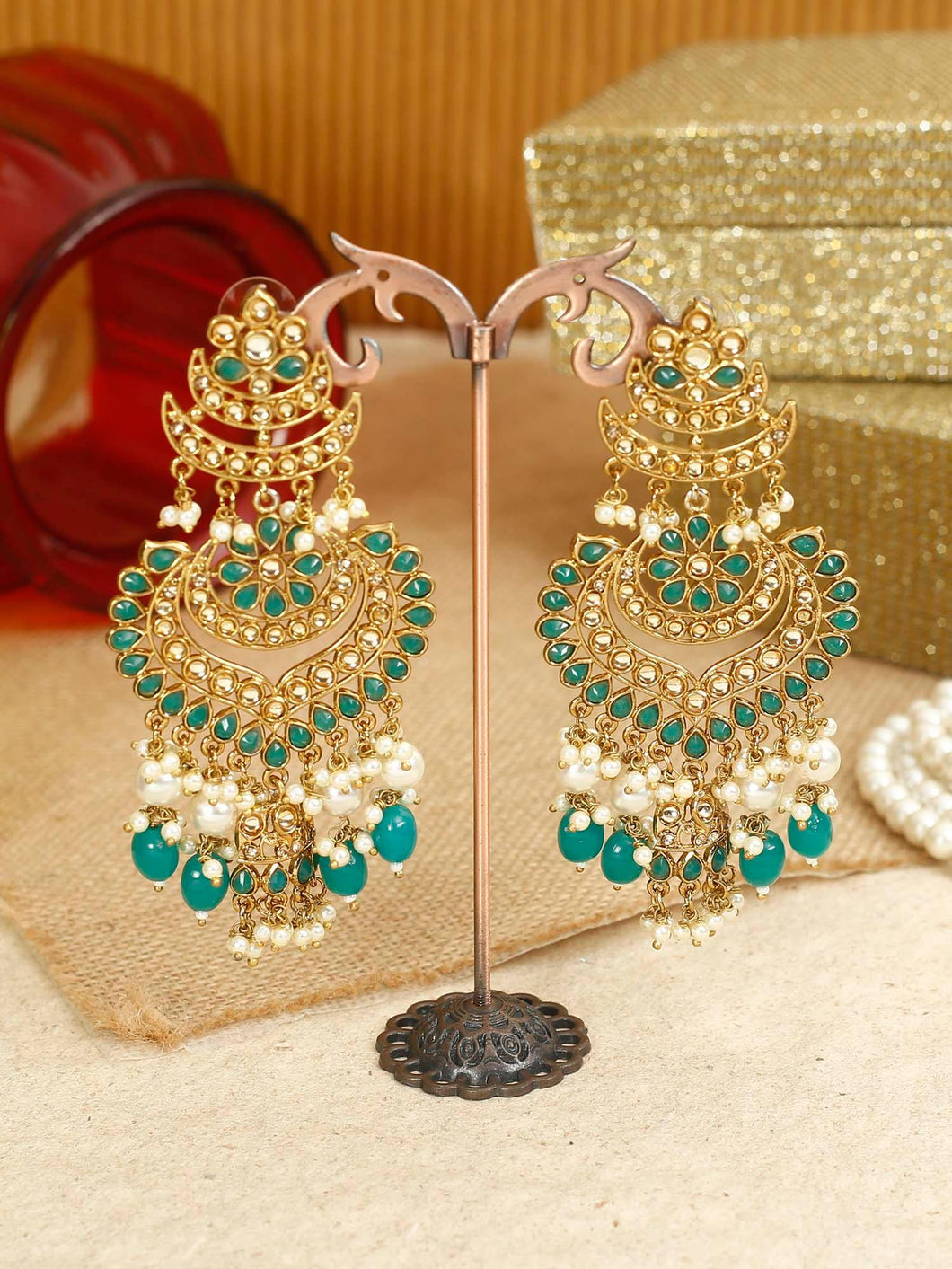 Green Kundan & Pearl Danglers - The Wedding Brigade