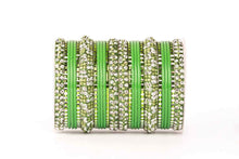 Load image into Gallery viewer, Green Lac Stone Pattern Bangle Set - The Wedding Brigade