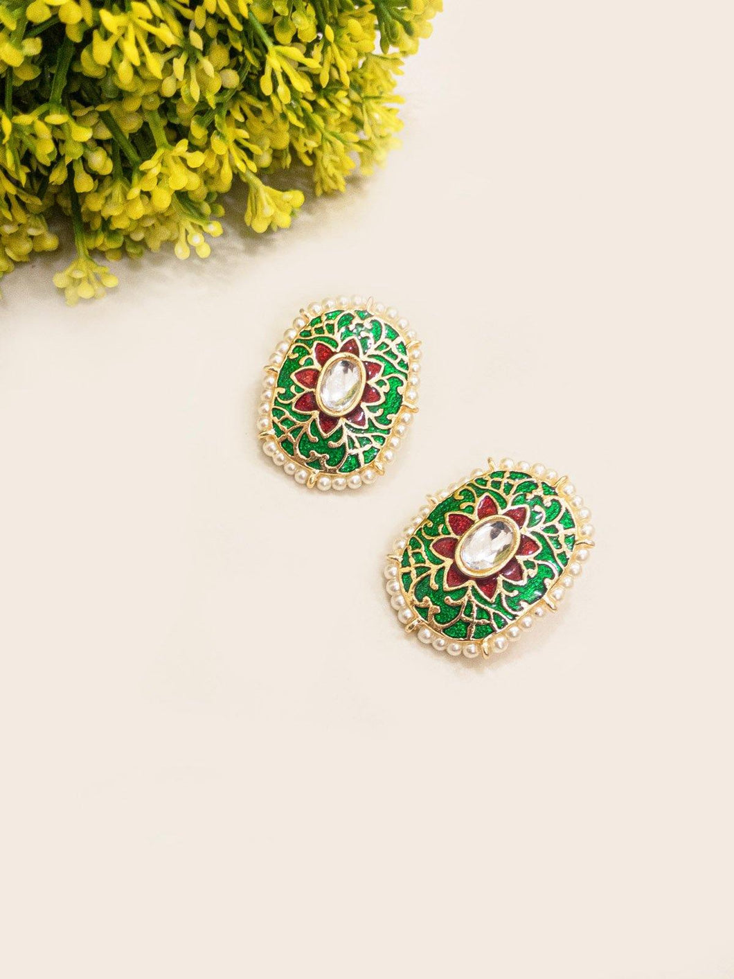 Green Multi Color Floral Studs