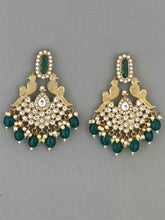 Load image into Gallery viewer, Green Pearl & Kundan Danglers