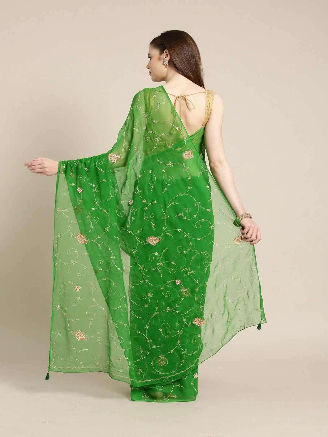 Green Pure Chiffon Embroidered Saree