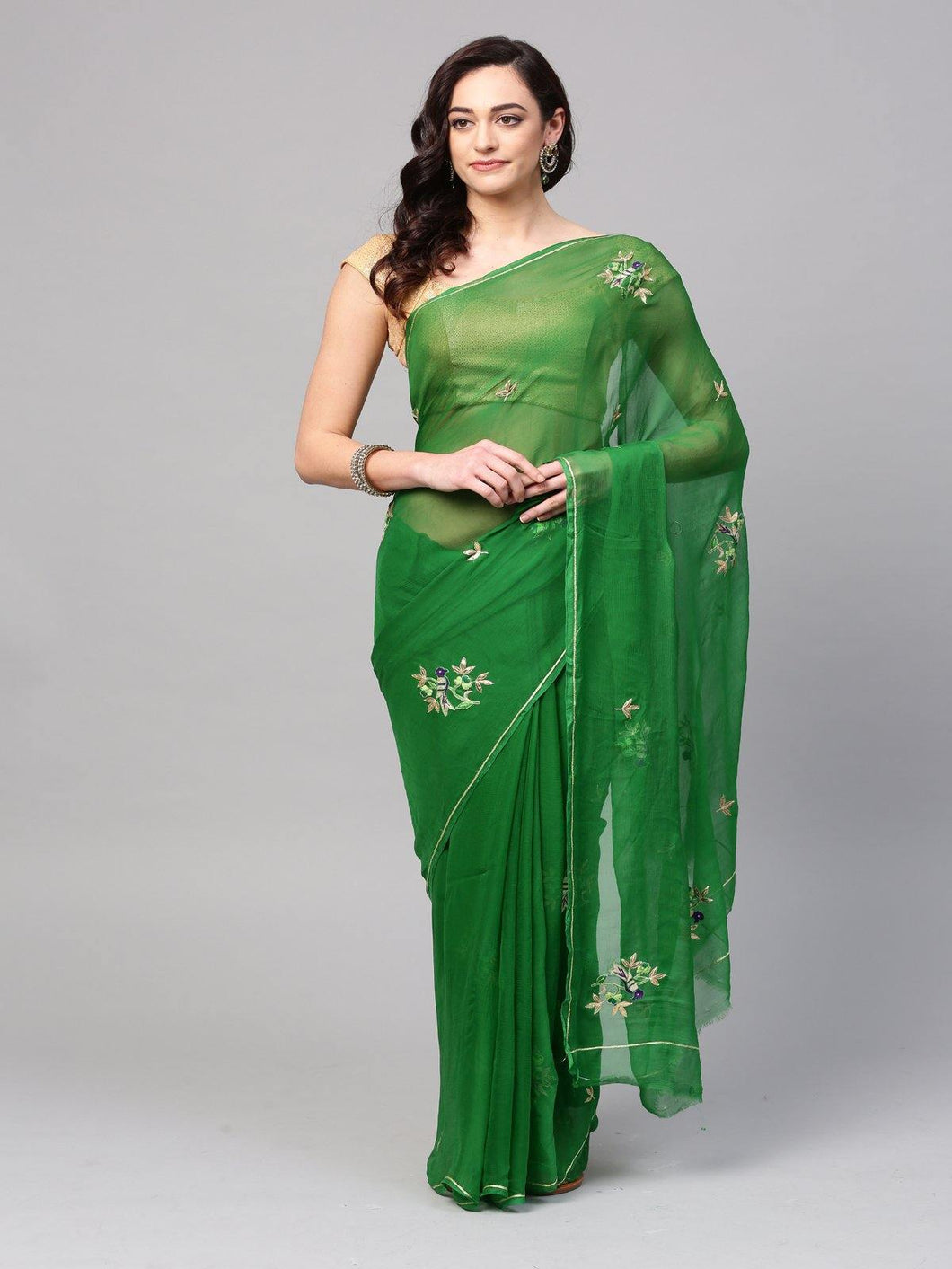 Green Pure Chiffon Hand Embroidered Saree - The Wedding Brigade
