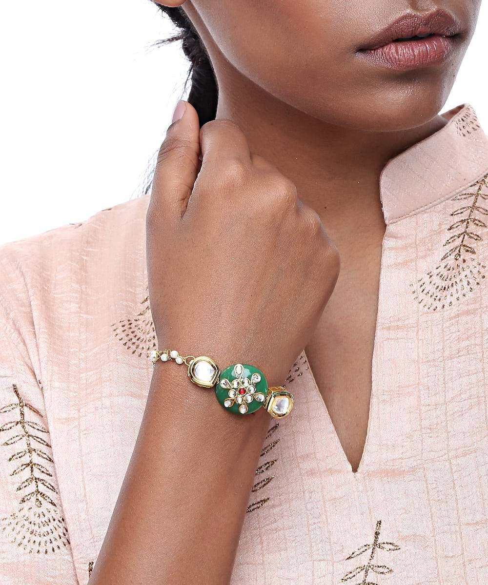 Green Round Kundan Bracelet - The Wedding Brigade