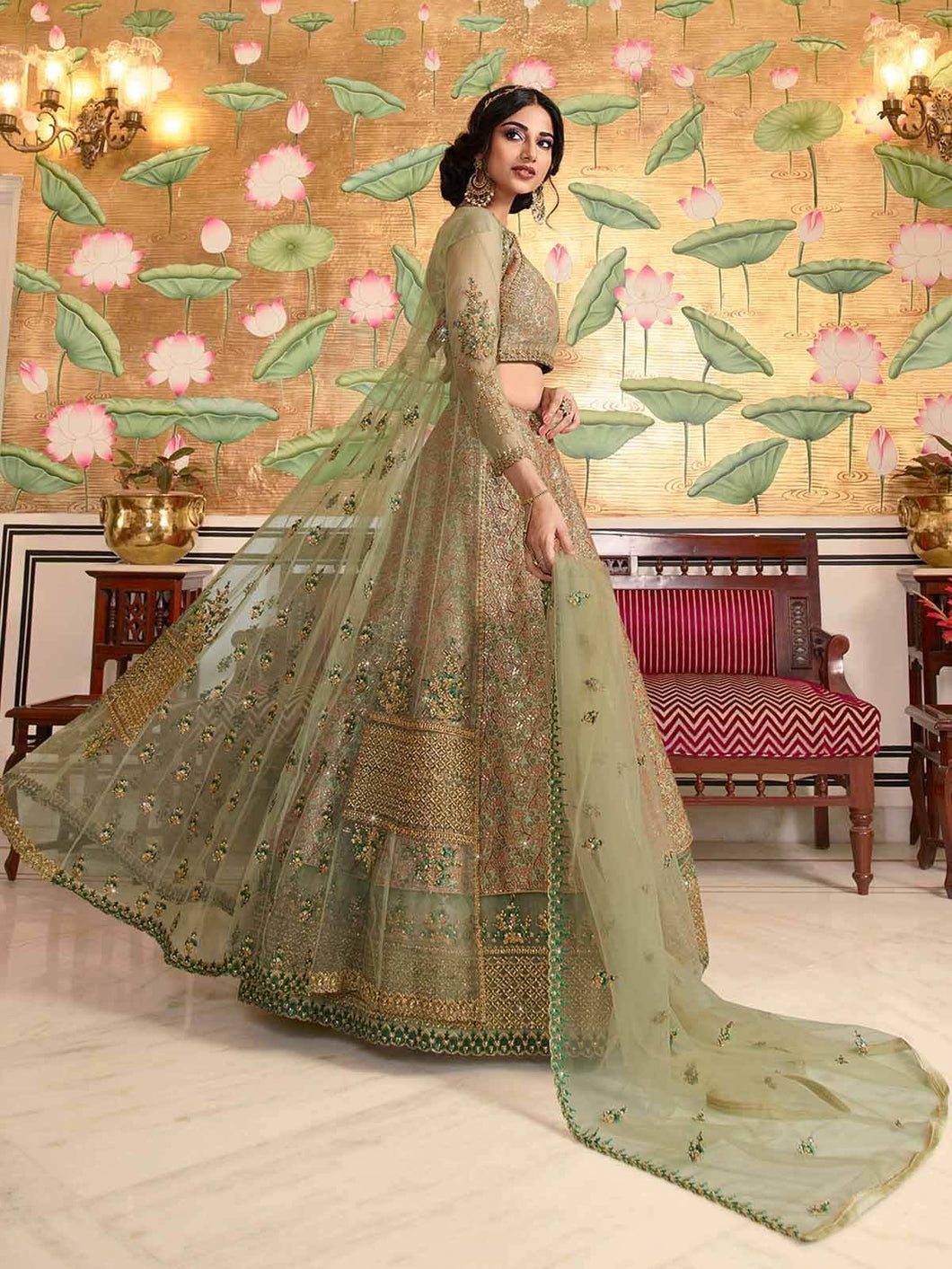 Green Semi-Stitched Lehenga Choli Set with Long Jacket