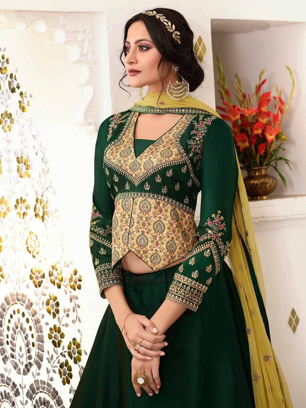 Green Semi-Stitched Zari Embrpidered Lehenga Choli Set